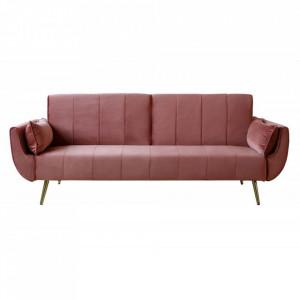 Canapea extensibila roz din catifea si metal 215 cm Divani Invicta Interior