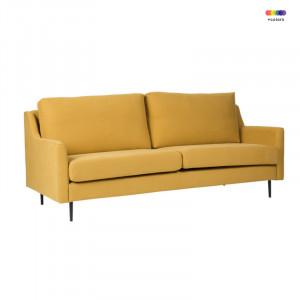 Canapea galbena din lemn de pin si poliester pentru 2 persoane London Yellow Somcasa