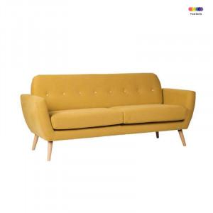Canapea galbena din lemn de pin si poliester pentru 2 persoane Tokyo Yellow Somcasa