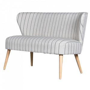 Canapea gri din textil si lemn pentru 2 persoane Lilly Opjet Paris