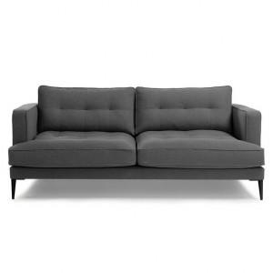 Canapea gri inchis din metal si poliester pentru 3 persoane Vinny La Forma