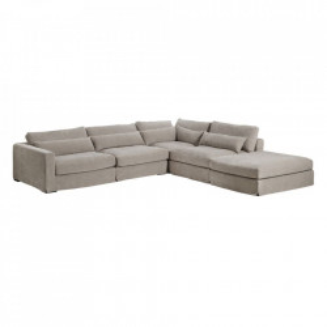 Canapea modulara cu colt gri din poliester si lemn de pin 330 cm Chicester Denzzo