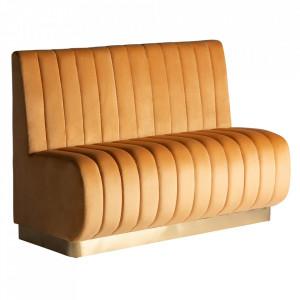 Canapea modulara maro chihlimbar din catifea si placaj 140 cm Jayat Vical Home