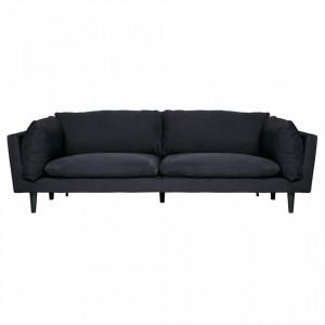 Canapea neagra din catifea pentru 3 persoane Rocky Woood
