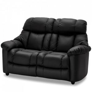 Canapea neagra din piele si metal pentru 2 persoane Malmo Furnhouse