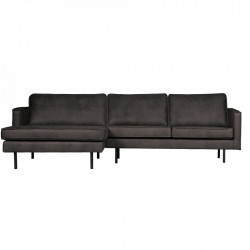Canapea neagra din piele si poliester cu colt 300 cm Rodeo Left Be Pure Home