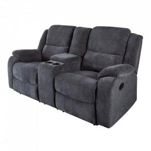 Canapea recliner din poliester pentru 2 persoane Hollywood Invicta Interior