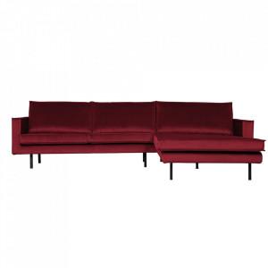 Canapea rosu inchis din poliester si metal cu colt pentru 3 persoane Rodeo Right Be Pure Home