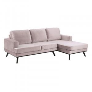 Canapea roz/neagra din textil si lemn cu colt pentru 2 persoane Norwich Right Actona Company