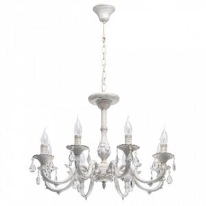 Candelabru alb din metal si sticla cu 8 becuri MW-Light Classic Aurora MW Glasberg