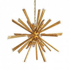 Candelabru auriu din lemn eucalipt si metal cu 9 becuri Gold Vical Home