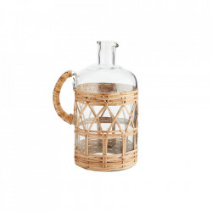 Carafa transparenta/maro din sticla si bambus 19x27 cm Sand Glass Jug Madam Stoltz