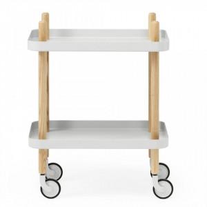 Carucior gri deschis/maro din lemn de frasin si otel Block Table Normann Copenhagen