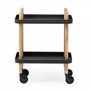Carucior negru/maro din lemn de frasin si otel Block Table Normann Copenhagen