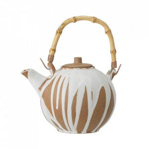 Ceainic alb/maro din ceramica si bambus 800 ml Camellia Bloomingville