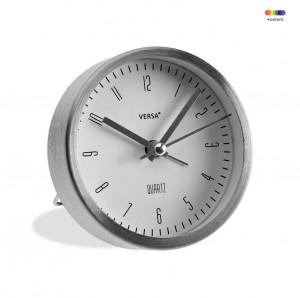 Ceas de masa rotund argintiu/alb din aluminiu 9 cm Silver Alarm Versa Home