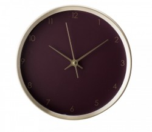 Ceas de perete auriu rotund din aluminiu cu fundal rosu 25x4,5 cm Bloomingville