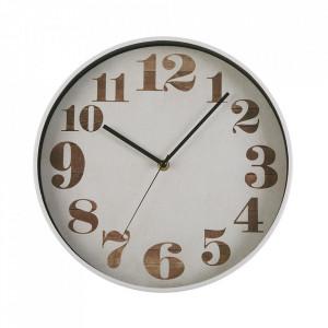 Ceas de perete rotund alb/maro din plastic 30 cm Buju Versa Home