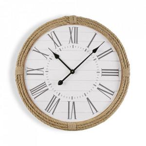Ceas de perete rotund maro/alb din MDF 60 cm Taylor Versa Home