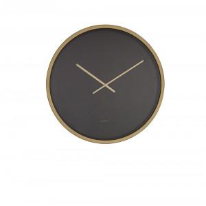 Ceas negru rotund din otel si alama 60 cm Time Bandit Black/Brass Zuiver