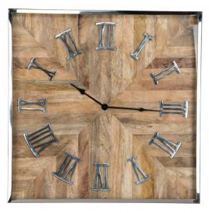 Ceas perete patrat maro/argintiu din inox si lemn 60x60 cm Aiden Richmond Interiors