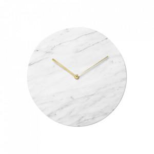 Ceas perete rotund alb din marmura si alama 30 cm Carrea Menu