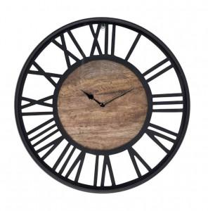 Ceas perete rotund negru/maro din metal si lemn 50 cm Scott Richmond Interiors