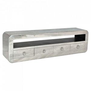 Comoda TV argintie din lemn de mango si aluminiu 200 cm Airman Sit Moebel