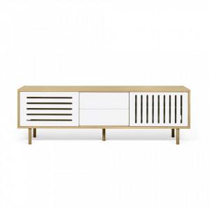 Comoda TV maro/alba din MDF si lemn 201 cm Dann Stripes TemaHome