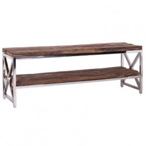 Comoda TV maro/argintie din lemn si inox 180 cm Kensington Richmond Interiors