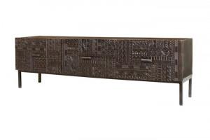 Comoda TV maro din lemn de mango si fier 180 cm Hieroglyph Giner y Colomer