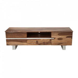 Comoda TV maro din lemn de palisandru indian 160 cm Mammut Invicta Interior