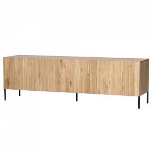 Comoda TV maro din lemn de stejar si metal 180 cm Gravure Woood