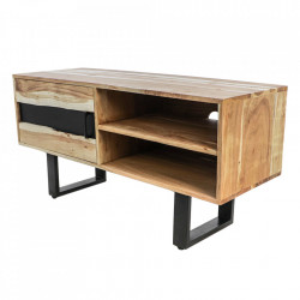 Comoda TV maro/neagra din lemn de salcam si fier 110 cm Vienna HSM Collection