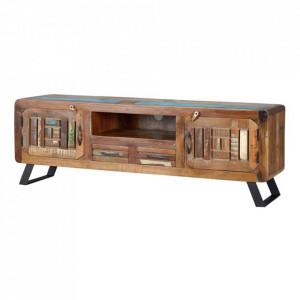 Comoda TV multicolora din lemn reciclat si fier 160 cm Katia Giner y Colomer
