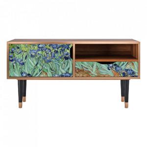 Comoda TV multicolora din MDF si lemn 114,2 cm Irises By Vincent Van Gogh Sara Furny
