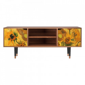 Comoda TV multicolora din MDF si lemn 170 cm Sunflowers By Vincent Van Gogh Lara Furny