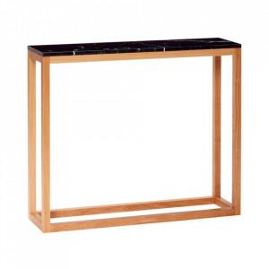 Consola neagra/maro din marmura si lemn 90 cm Marble Hubsch
