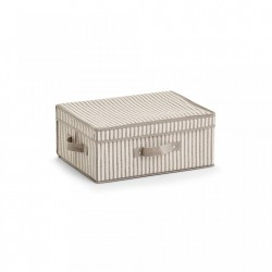 Cos bej din fleece Storage Box Stripes Cover Handle Zeller