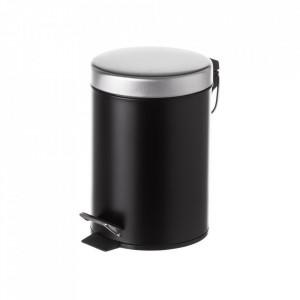 Cos de gunoi negru/argintiu din metal 3 L Burna Unimasa