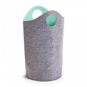 Cos de rufe gri/albastru din fetru 32x60 cm Laundry Collector Two-Tone Aqua Zeller