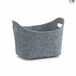 Cos gri din fetru Oval Gray Bigger Basket Zeller