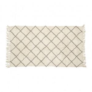 Covor alb din bumbac 90x150 cm Stripes Hubsch