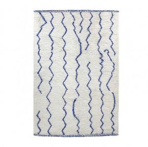 Covor din lana alba 280x180 cm Blue Lines HK Living