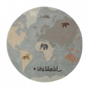 Covor multicolor din lana si bumbac 120 cm The World Oyoy
