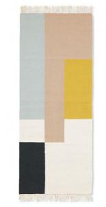 Covor multicolor din lana si bumbac 70x180 cm Kelim Squares Ferm Living