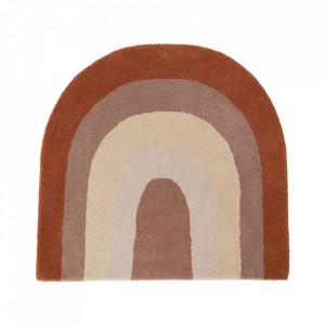 Covor multicolor din lana si bumbac 88x90 cm Rainbow Oyoy
