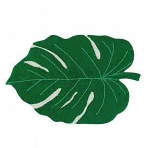 Covor oval verde din bumbac 120x180 cm Monstera Leaf Lorena Canals