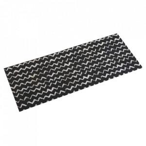 Covor pentru bucatarie alb/negru din poliester 50x120 Lauren Versa Home