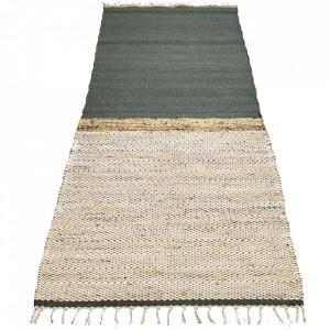 Covor verde din lana si iuta 70x140 cm Hawes Bolia